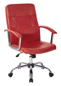 AVE SIX Malta Faux Leather Office Chair With Arms and Locking Tilt, Red