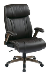 Office Star Executive Eco Leather Chair with Adjustable Padded Flip Arms and Coated Base, Espresso