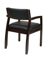 Office Star Napa Padded Black Eco Leather Back and Seat Wood Guest Chair, Espresso Finish