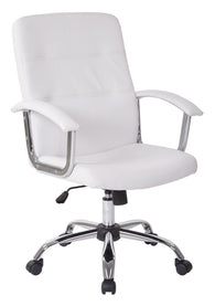 AVE SIX Malta Faux Leather Office Chair With Arms and Locking Tilt, White