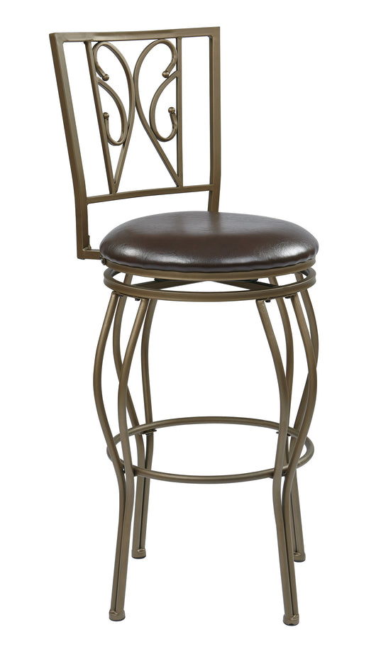 Office Star Cosmo Antique Grey Ash Steel Frame Swivel Barstool with Espresso Faux Leather Seat, 30-Inch