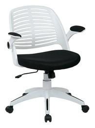 AVE SIX Tyler Office Chair with Arms and White Frame, Black