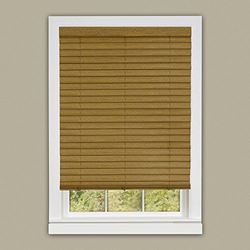 Achim Home Furnishings Luna 2-Inch Vinyl Slat Venetian Cordless Blind with Valance, 33 by 64-Inch, Woodtone