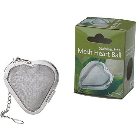 HIC Heart Shaped Loose Tea Leaf Strainer and Herbal Infuser, 18/8 Stainless Steel, Mesh Tea Ball, 2.5-Inch