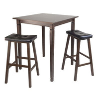 3pc Kingsgate High/Pub Dining Table with Cushioned Saddle Stool