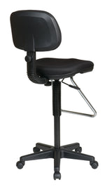 Office Star Pneumatic Drafting Chair with Vinyl Stool and Back, Casters and Chrome Teardrop Footrest