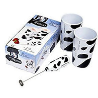 Aerolatte Milk Shake Mooo Gift Set, including Milk Frother, Two Mugs, Two Stainless Steel Straws and Travel Case, Cow Print