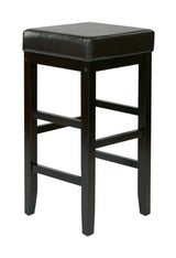 "30"" Square Espresso Faux Leather Barstool with Espresso Legs"