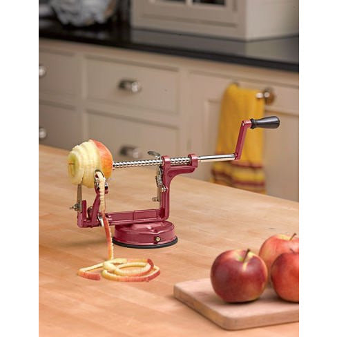 Mrs. Anderson's Baking Apple and Potato Peeler, Corer and Slicer with Suction Base, Red