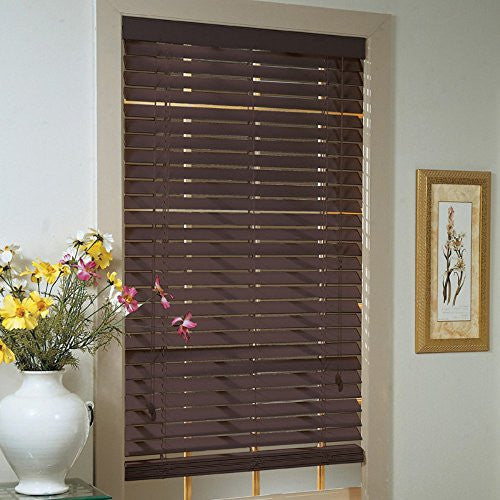 Achim Home Furnishings Madera Falsa 2-Inch Faux Wood Blind, 29-Inch by 64-Inch, Mahogany