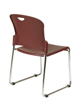Work Smart Stack Chair with Sled Base with Plastic Seat and Back, Burgundy, 2-Pack