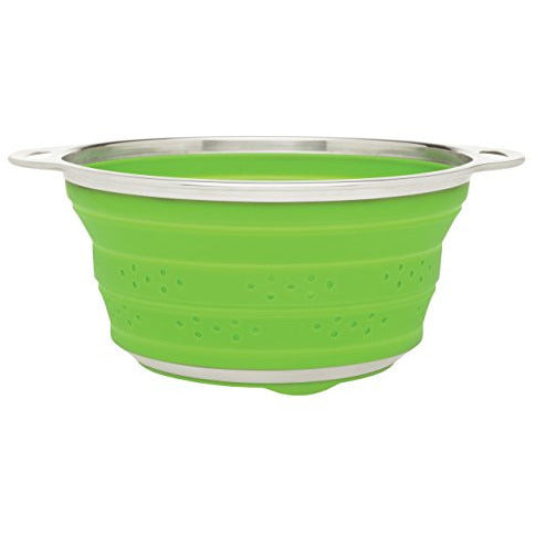 HIC Essential Collapsible Colander, Silicone and Stainless Steel, 3-Quart
