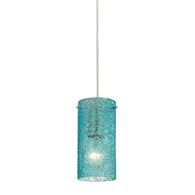 Ice Fragments 1-Light Mini Pendant in Satin Nickel with Aqua Glass