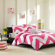 Mizone Libra 4 Piece Duvet Cover Set, Full/Queen, Pink [Misc.]