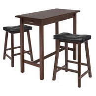 3-Pc Kitchen Island Table with 2 Cushion Saddle Seat Stools