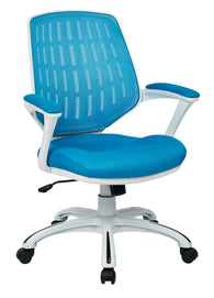 AVE SIX Calvin White Frame Mesh Office Chair with Arms, Blue