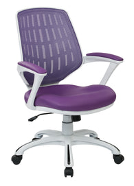 AVE SIX Calvin White Frame Mesh Office Chair with Arms, Purple