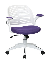 AVE SIX Tyler Office Chair with Arms and White Frame, Purple