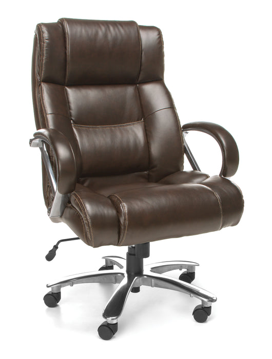 HIGH-BACK EXEC CHAIR BROWN, 500 LBS. CAPACITY