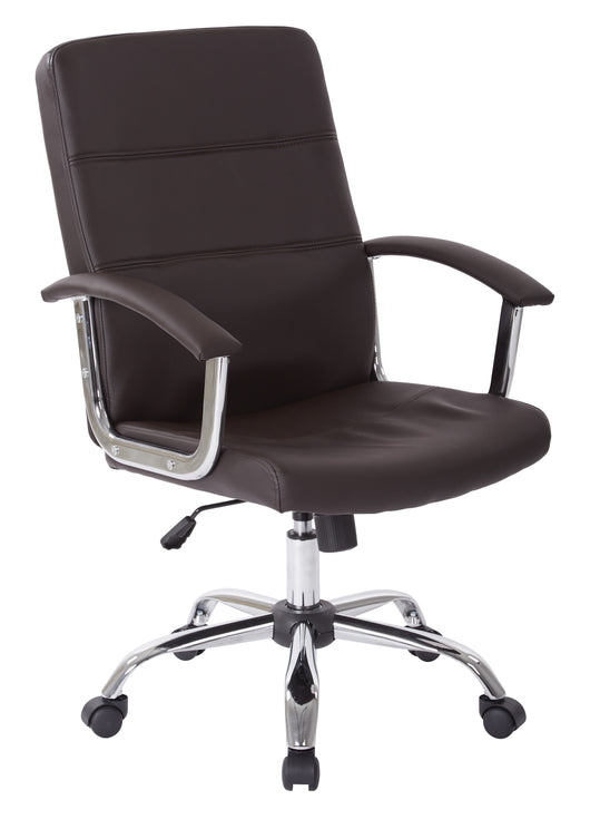 AVE SIX Malta Faux Leather Office Chair With Arms and Locking Tilt, Espresso