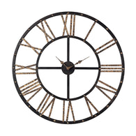 Metal-framed Roman Numeral Open Back Wall Clock