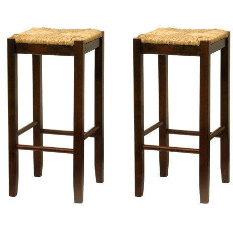 Set of 2, Rush Seat 29 Stool, Assembled