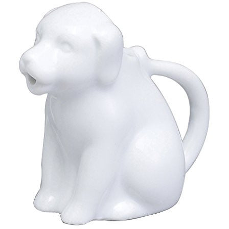 Harold Import Company Dog Creamer Coffee Tea Milk Syrup Dressing Server with Handle, 2 oz, Fine White Porcelain