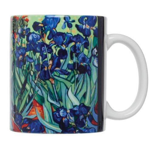 Vincent Van Gogh Les Irises Fine Art Coffee Tea Mug, Fine White Porcelain, 12-Ounces, Set of 4 Mugs