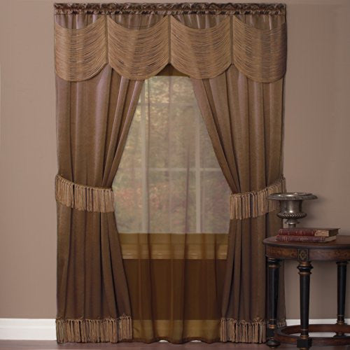 Achim Home Furnishings Halley Window in a Bag, 56-Inch by 84-Inch, Taupe