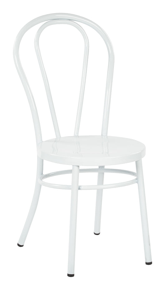 Odessa Metal Dining Chair with Backrest in Solid White Finish- Ships Fully Assembled, 2-Pack