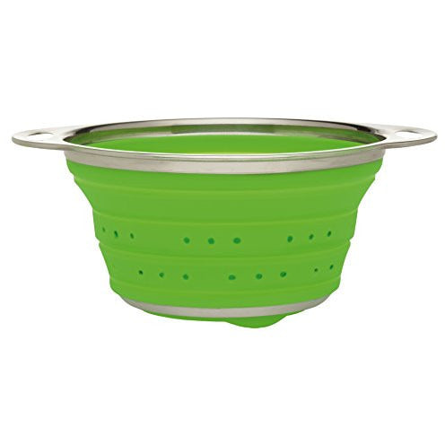 Harold Import Company HIC Essential Collapsible Colander, 1.5-Quart, Silicone/Stainless Steel, Green