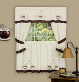Achim Home Furnishings 58-Inch by 36-Inch Cuppa Joe Embellished Cottage Toppe