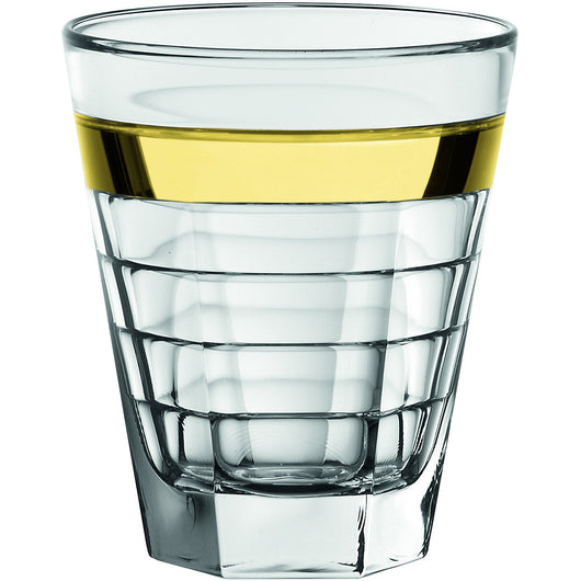 Majestic Gifts AE64326-S6 High Quality European Glass DOF Tumbler with Gold Band (Set of 6), 11.5 oz, Clear