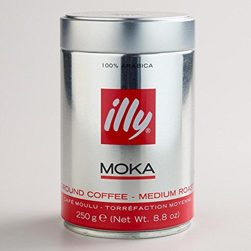 illy Medium Roast Ground Moka Coffee for Stovetop Coffeemakers, 8.8 ounce can