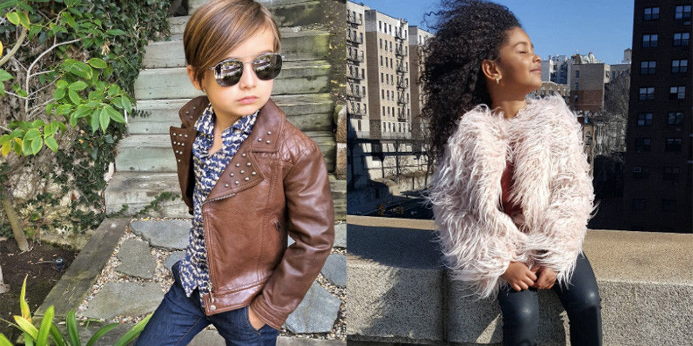 Two side-by-side images of a little boy posing outside wearing sunglasses, a brown leather jacket and stylish button-up shirt paired with a cityscape with a young girl wearing sparkly leggings and a faux fur coat.