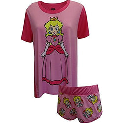 Womens two piece pajama set featuring long style short-sleeve Princess Peach nightgown and matching shorts