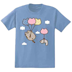 Blue short-sleeve crew neck t-shirt with Pusheen characters with balloons