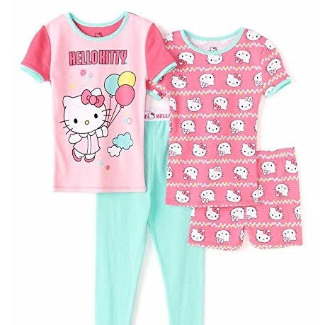 4 piece Hello Kitty pajama set, with short-sleeve pink t-shirt and matching shorts with Hello Kitty design, a pink shirt with a Hello Kitty balloon design and teal sleep pants.