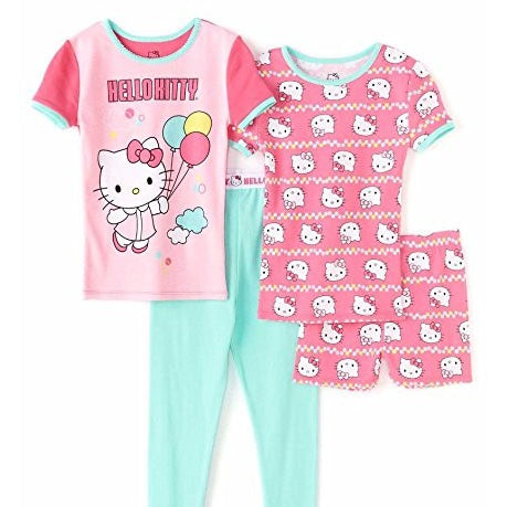 Girls four piece Hello Kitty pajamas with short-sleeve pink t-shirt, teal pants, and matching short-sleeve shirt and shorts in pink with allover Hello Kitty print