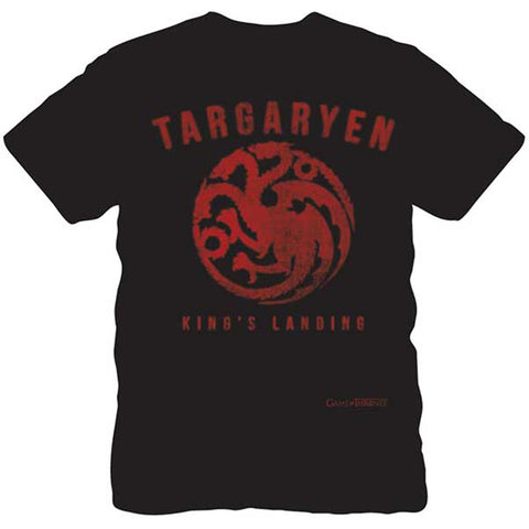 Black short-sleeve crew neck t-shirt featuring Targaryen name and three-headed dragon sigil in red above King's Landing text