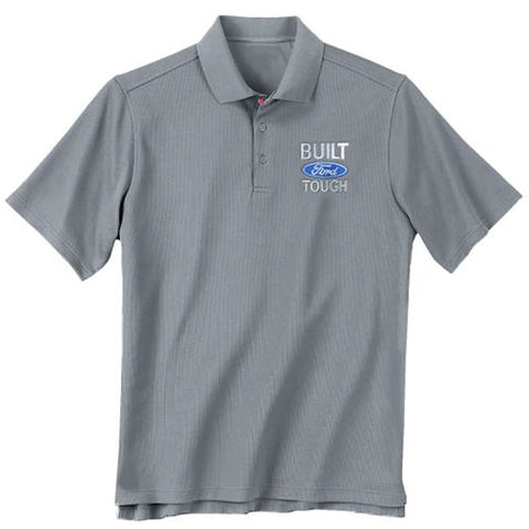 Gray short-sleeve mens Built Ford Tough polo t-shirt with Ford logo on chest