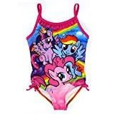 Colorful My Little Pony one-piece swimsuit with ruffled collar and accent bows.