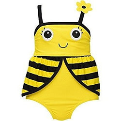 Black and yellow bumblebee design on girls one-piece swimsuit with flower strap