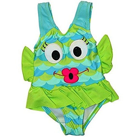 Fun, colorful girls one-piece swimsuit with embroidered fish face, green frilled waist and patterned with aqua blue and vibrant green.