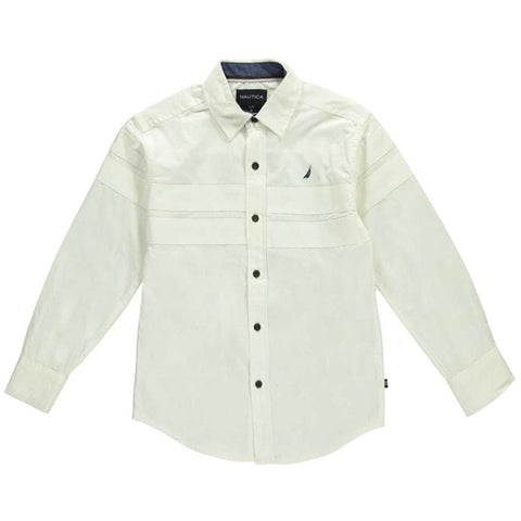 Boys white collared long-sleeve button-up dress shirt
