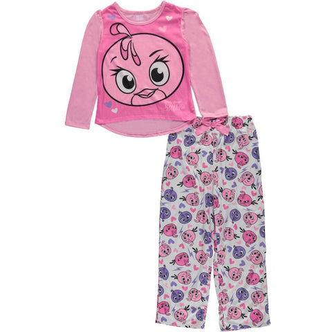 Girls two piece pajama set with pink long-sleeve shirt with Angry Birds Stella design and matching pants with allover Angry Birds print