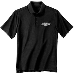 Black short-sleeve polo t-shirt with Chevrolet embroidered on chest.