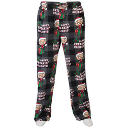 Men's black lounge pants featuring allover Stewie from Family Guy holiday print