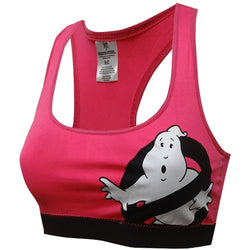 Womens pink Ghostbusters sports bra with racerback straps and black support band featuring Ghostbusters logo