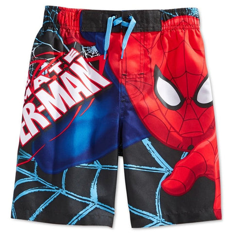 Boys black Spiderman swim trunks featuring blue web design, character face, and Ultimate Spiderman text in white